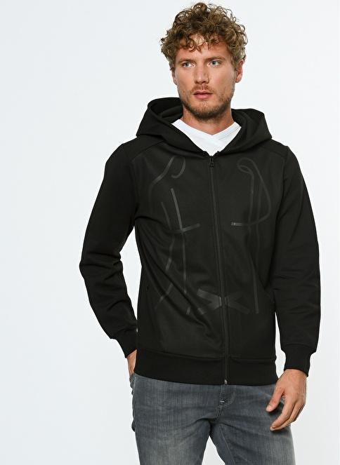 Hyperfolk Fermuarlı Kapüşonlu Sweatshirt Siyah